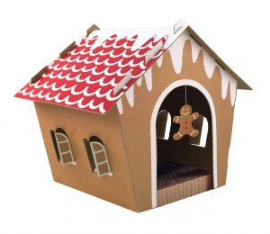 The Companion Gear 70070 Holiday Gingerbread Cat Scratcher House Is The  Perfect Cardboard Cat House To Display During The Winter Holidays.